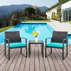 Shintenchi 3 Pieces Patio Set Outdoor Wicker Patio Furniture Sets Modern Bistro Set, Two Chairs with Glass Coffee Table Rattan Conversation Sets for Yard Porch Poolside Lawn,Blue