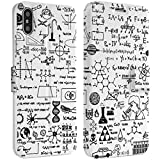 Wonder Wild Science Drawing IPhone Wallet Case X/Xs Xs Max Xr 7/8 Plus 6/6s Plus Card Holder Accessories Smart Flip Hard Design Protection Cover Monochrome Calculation Formula Mathematical Numbers