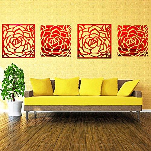 Romantic 4 Rose Flower Wall Art DIY Acrylic Mirror Crystal Wall ...