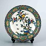 "Japanese drawn Ceramic Porcelain kutani ware with wooden box. Plateau. Big plate."" Japanese ceramic Hagiyakiya 1201"