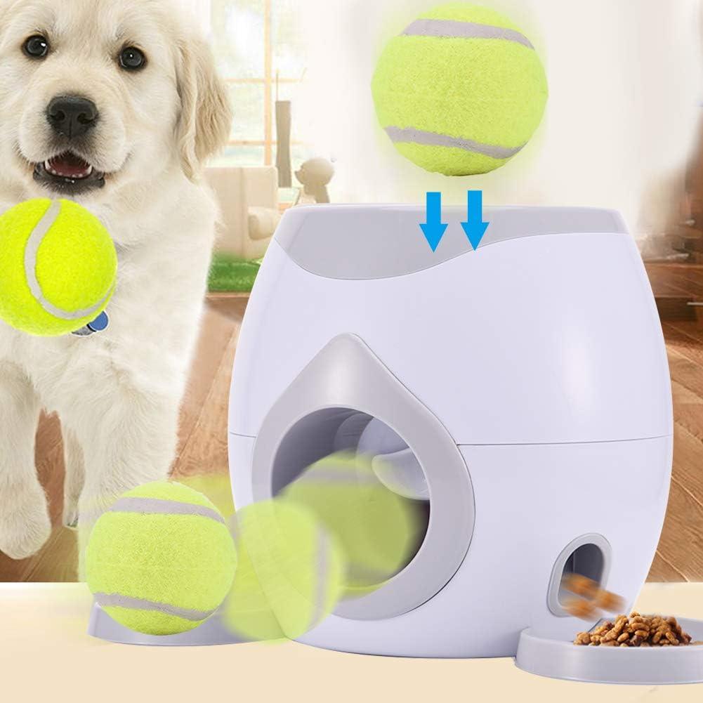 Juguete del lanzador de la pelota de tenis para mascotas, alimentador para perros, máquina de recompensa, lanzador, tratamiento interactivo, juguete de alimentación lenta, adecuado para gatos y perros