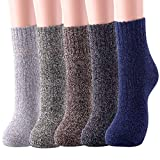 5 Pairs Womens Wool Socks Thick Warm Winter Vintage Knit Thermal Socks Gifts (Dark)