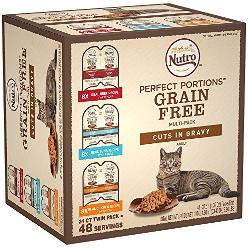 NUTRO PERFECT PORTIONS Grain Free Natural Adult Wet Cat Food Cuts in Gravy Real Beef, Real Tuna, and Real Chicken Recipes Variety Pack, (24) 2.6 oz. Twin-Pack Trays