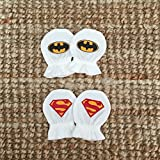 Handmade Newborn baby Superman & Batman Soft Cotton Jersey White Anti Scratch Mittens Gloves