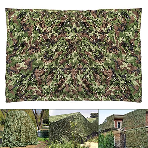 Audew Woodland Camouflage Net Military Camo Netting Hunting Camping Shooting Blind Hide Army Sunshade Nets Party Decoration 16.5 X 5 feet