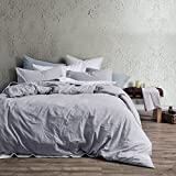 Eikei Washed Cotton Chambray Duvet Cover Solid Color Casual Modern Style Bedding Set Relaxed Soft Feel Natural Wrinkled Look (King, Faded Violet)