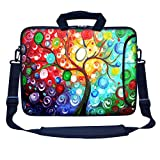 Meffort Inc 15 15.6 inch Neoprene Laptop Bag Sleeve with Extra Side Pocket, Soft Carrying Handle & Removable Shoulder Strap for 14' to 15.6' Size Notebook Computer - Colorful Tree