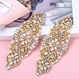 2 Pieces Rhinestone Applique with Pearls Crystal Beaded Trim- Perfect for DIY Design, Wedding Cake Decoration, Flower Girl Basket, Bag Decor, Bridal Dress Accessories (Gold)
