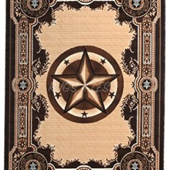 Chocolate Western Texas Star Rug 5 x 7