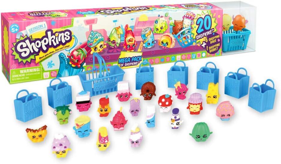 Amazon Com Shopkins Season 1 Mega Pack Bundle Of 20 Shopkins 6 Shopping Bags 1 Shopping Basket And 1 Collectors Guide Toys Games
