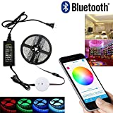 SJP Light Bluetooth Smartphone App Controlled RGB LED Strip Light Kit,5M / 16.4FT IP65 300 LEDs Rope Light For iPhone, iPad, iWatch, Android and Amazon Fire Phones and Tablets (RGB)