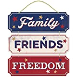 """Americana Fourth of July Party Friends, Family, Freedom Hanging Sign Decoration, Fiberboard, 12"""" x 12"""""""