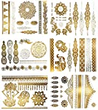 Temporary Henna Inspired Metallic Tattoos - Over 75 Boho Mandala Designs in Gold and Silver (6 Sheets) Terra Tattoos Jasmine Collection