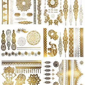 Temporary Boho Metallic Tattoos – Over 75 Mandala Mehndi Designs in Gold and Silver (6 Sheets) Terra Tattoos Jasmine Collection 61YS0KELkEL