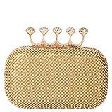 Rimen & Co. Rhinestone Crystal Ring Knuckle Wedding Clutch Evening Bag Purse EB-010 (Gold)