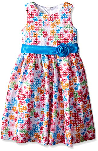 American Princess Big Girls' White Floral Shantung with Check Dress, 8