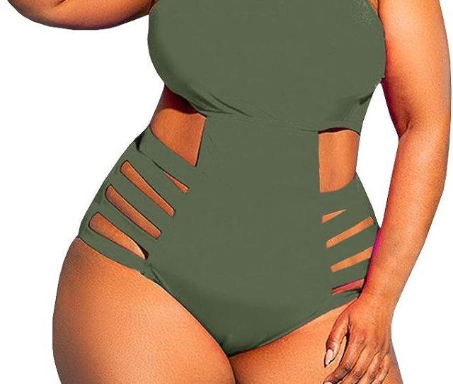 Yskkt Womens Plus Size Swimwear One Piece High Waist Swimsuits
