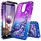 LG Q7+ Plus Case with Tempered Glass Screen Protector (Full Coverage) for Girls Kids Women, NageBee Glitter Liquid Sparkle Bling Floating Diamond Cute Case for LG Q7 /Q7+ /Q7 Plus -Purple/Blue