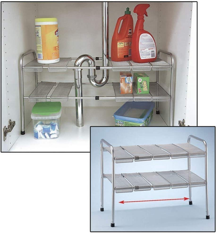 Atb 2 Tier Expandable Adjustable Under Sink Shelf Storage Shelves Kitchen Organizer Amazon Co Uk Kitchen Home