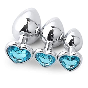 Princess Plug Butt 3pcs Set Intimate Metal A Nal Beads With Crystal Jewelry Heart
