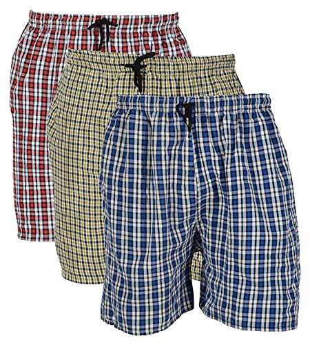 Worivo Cotton Check Printed Multi Colour Casual Shorts for Mens (Pack of 3) (Free Size :- 28-32)