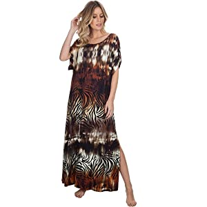 Kaftan Longo Animal Print com Fenda