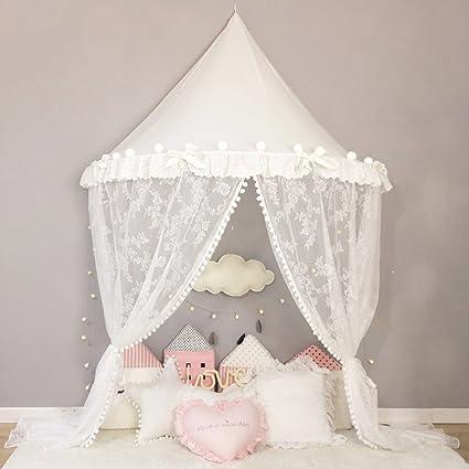 Nordic Ideas Ciel De Lit Baldaquin Tout Blanc Avec Le Voilage En Dentelle Baldaquin Rideaux De Lit Enfant Tente De Lit Princesse Moustiquaire De Lit