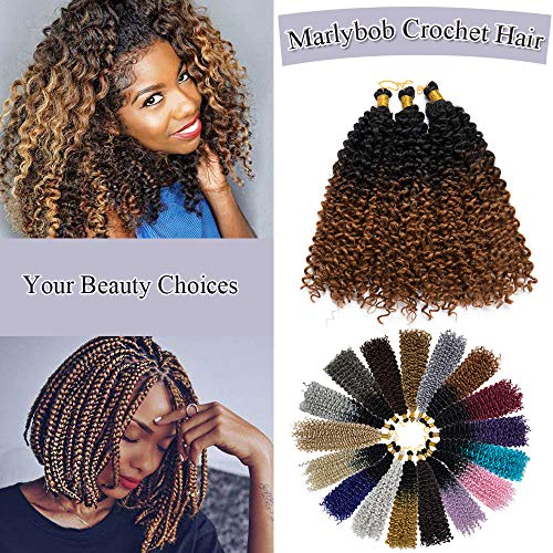 Marlybob Crochet Braids Hair Extensions Synthetic Deep Water Wave Marlibob Hairpiece Afro Jerry Curl Kinky Curly Twist Braiding Weave Hair For Black Women (14'',Black to Light Brown)