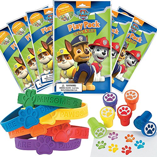 Paw Patrol Party Favor Set - 6 Grab & Go Coloring Book Play Packs, 6 Paw Print Rubber Bracelets, 6 Paw Print Stampers