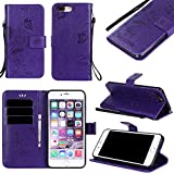Black Friday Deals Cyber Monday Deals-iPhone 8Plus/iPhone 7 Plus Wallet Case Cover-PU Leather Embossed Flowers Butterfly Ant Card Holders Stand Magnetic Closure Wrist Strap (iPhone 8Plus, Purple)
