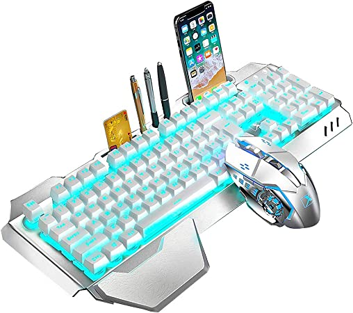 Amazon Com Wireless Keyboard And Mouse Blue Led Backlit Rechargeable Keyboard Mouse With 3800mah Battery Metal Panel Removable Hand Rest Mechanical Feel Keyboard And 7 Color Gaming Mute Mouse For Pc Gamers Computers Accessories