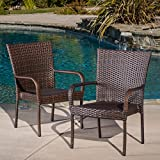 Christopher Knight Home 278771 Set of 2 Stackable Outdoor Brown Wicker Dining Chairs