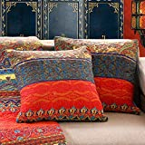 Exclusivo Mezcla Luxury Cotton Boho Stripe Throw Pillow Covers/Cases (2 Pieces, 18X18 Inch) Machine Washable and Dryable-Pattern 1