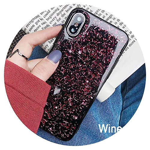 3D Shine Bling Goldleaf Sequins Soft TPU Silicone Case for iPhone Xs Max XR 6 6s 7 8 Plus Back Phone X Cover Capa Fundas,Wine Red,for iPhone 6s