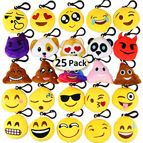 Dreampark Emoji Keychain Mini Cute Plush Pillows, Christmas Key Chain Decorations, Kids Party Supplies Favors, Easter Eggs Fillers 2' Set of 25