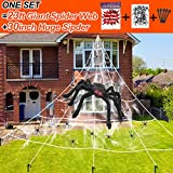Halloween Decorations Giant Spider Web Set with Mega Large Spider Web Large Black Spider Super Stretch Cobweb 20Pcs Small Fake Spiders for Halloween Outdoor Yard Lawn Decor, White, 23 Feet