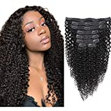 Sibaile Kinky Curly Clip ins Human Hair, Real Thick, Double Weft, 8A Virgin Remy Human Hair 3C 4A Type Kinkys Curly Clip in Hair Extensions for Women Natural Color 120g 8Pcs/Set with 18 Clips 16Inch