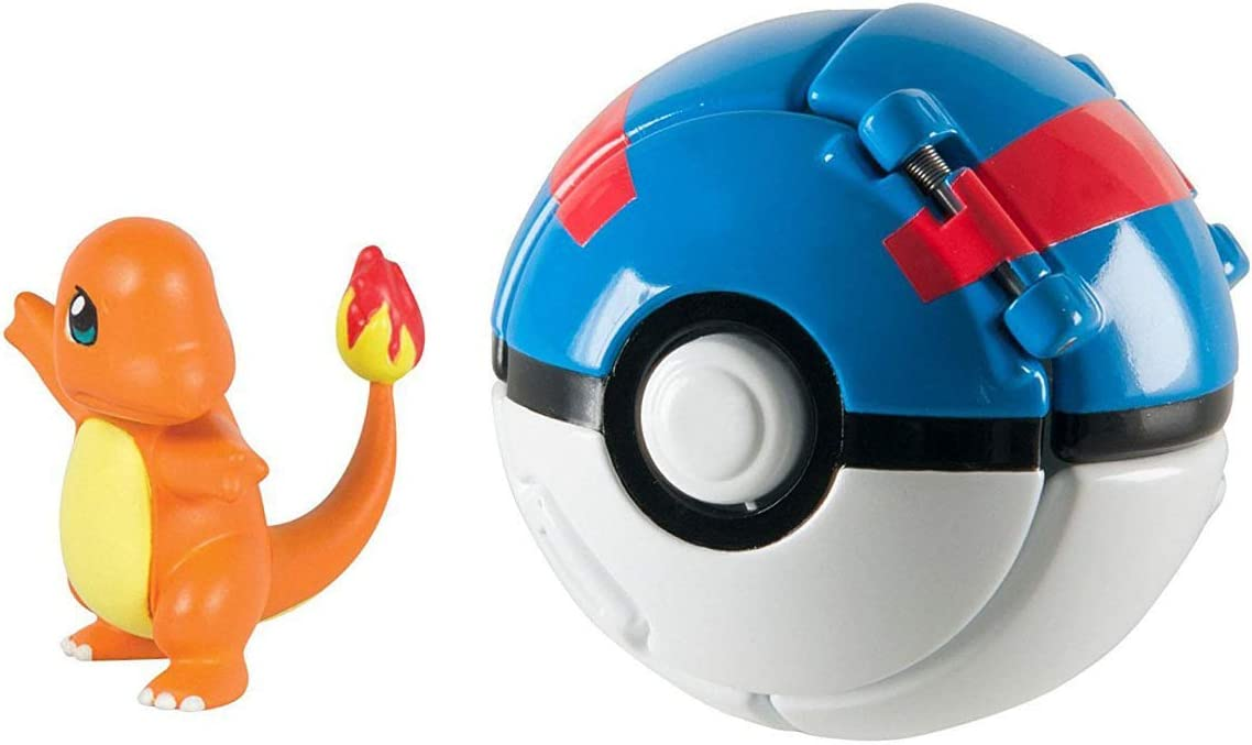 Dvnbs Pokemon Throw N Pop Poke Ball With Pokemon Action Figures Pokemon Toys For Kids Charmander And Great Ball Toys Games Action Figures
