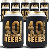 40th Birthday Decorations for Men - 12-Pack Can Coolers - 40th Birthday Gift Ideas Beer Sleeve - 12 Insulated Sleeves Turning 40 Party - 40th Birthday Gifts Men or for Women, Black with Gold Lettering