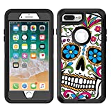Protective Designer Vinyl Skin Decals/Stickers for OtterBox Defender iPhone 8 Plus/iPhone 7 Plus Case - Sugar Skull Dia De Los Muertos Design Patterns - Only Skins and NOT Case - by [TeleSkins]