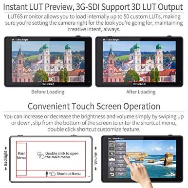FEELWORLD-LUT6S-6-Inch-SDI-2600nits-HDR-3D-LUT-Touch-Screen-DSLR-Camera-Field-Monitor-with-Waveform-VectorScope-Histogram-3G-SDI-4K-HDMI-Input-Output-1920X1080-IPS-Panel