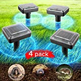 JIA LE Upgrade Mole Repellent, 4 Pack Ultrasonic Animal Repellent Solar Powered Gopher and Vole Chaser Humane Rodent Repeller (Black)
