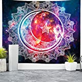 """Nidoul Psychedelic Tapestry Wall Hanging, Boho Mandala Tapestry, Celestial Starry Sky Wall Tapestry, Wall Art Decoration for Bedroom Living Room Dorm, Window Curtain Picnic Mat, 59"""" X 51"""""""