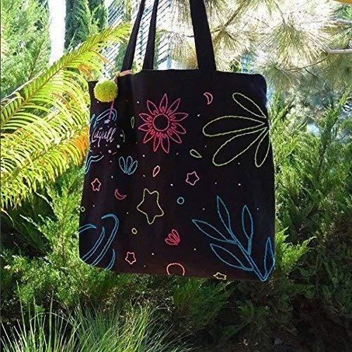 Bolsa Tote bag Nature explosion bordada a mano
