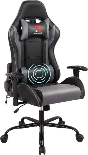 RIMIKING Massage Gaming Chair-Ergonomic PU Leather Racing Computer Desk Office Chair, 360°Swivel, Adjustable Armrest Lumbar Support Soft Headrest (Grey)