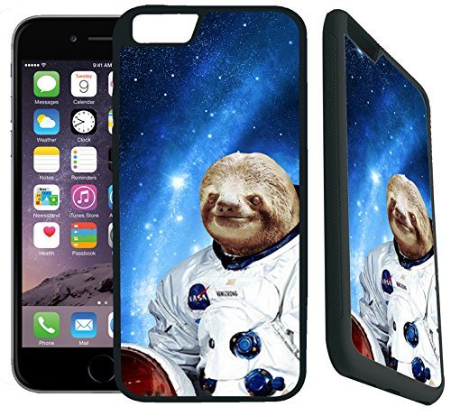 [TeleSkins] - iPhone 7 Rubber TPU Case -Hipster Astronaut Sloth - Ultra Durable Slim Fit, Protective Plastic with Soft RUBBER TPU Snap On Back Case / Cover. Fits (4.7 inch only)