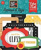 Echo Park Paper Company 1 Back to School Frames & Tags Ephemera, Blue/Black/Red/Green/Yellow