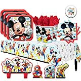 Another Dream Disney Mickey Mouse On The Go Birthday Supplies Party Pack for 16 Guests with Plates, Napkins, Cups, Tablecover, Candles, and Exclusive Pin