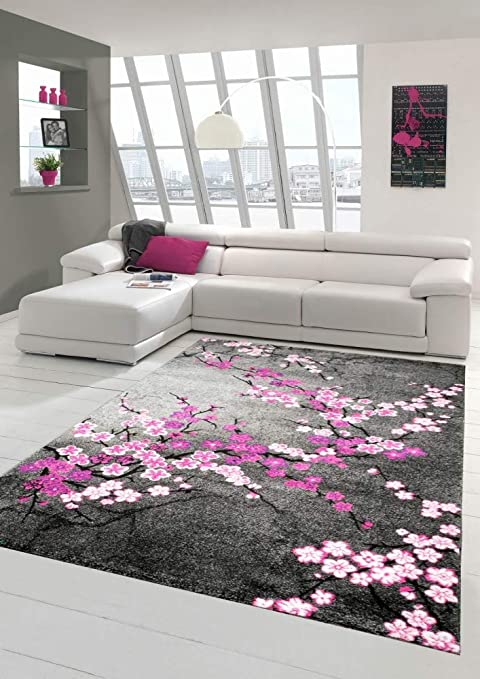 Traum Designer Rug Contemporary Rug Living Room Carpet Floral Pattern Grey Purple Pink White Pink Size 160x230 Cm Amazon Co Uk Kitchen Home
