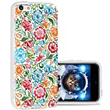 iPhone 5c case Cool, iPhone 5c case Cute, ChiChiC Full Protective Stylish Case Slim Durable Soft TPU Cases Cover for iPhone 5c,Colorful red Green Sky Blue Flower on White Background
